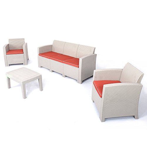 D+ Garden 3-Seater Patio Conversation Set, 4 Pieces of Plastic Table and Chairs, Wicker Pattern w/Red Cushions, Seat 5, (4 Seater Patio Set)
