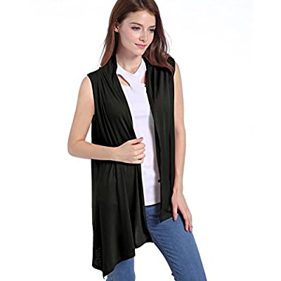 Lusiyu Women's Slim Fit Sleeveless Open Front Cardigan Vest Asymmetric Hem XL Black at Women's Clothing store