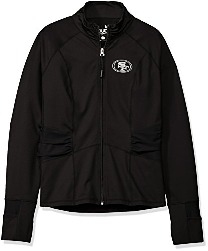 Touch by Alyssa Milano NFL San Francisco 49ers Women's Sideline Athleisure Track Jacket, Large, Black