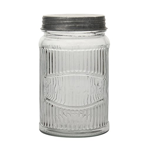 Stonebriar SB-5836A Clear Pressed Glass Milk Powder Jar with Galvanized Lid, -