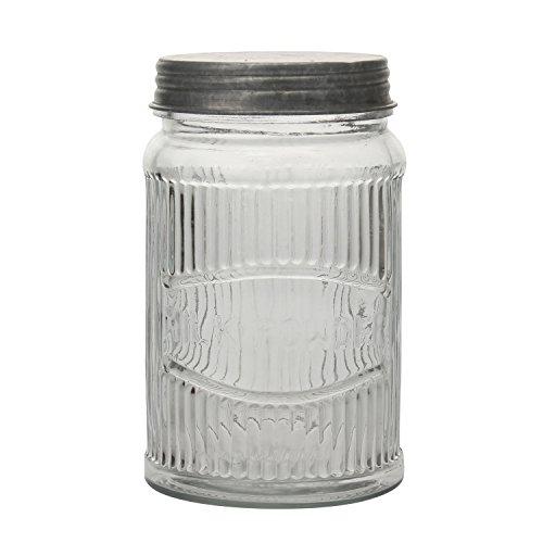 Stonebriar SB-5836A Clear Pressed Glass Milk Powder Jar with Galvanized Lid, MEDIUM,