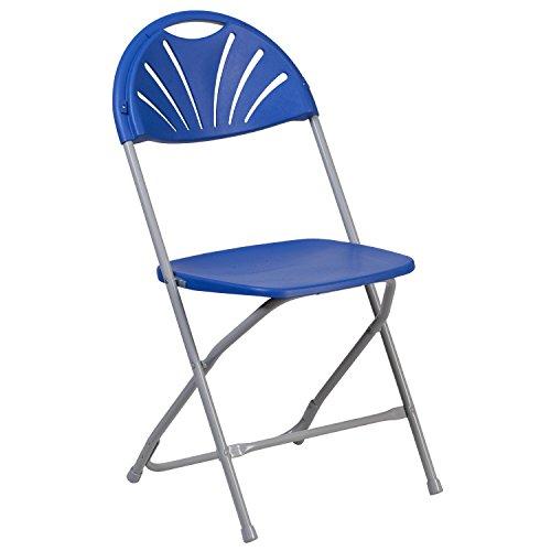 Flash Furniture HERCULES Series 800 lb. Capacity Blue Plastic Fan Back Folding Chair