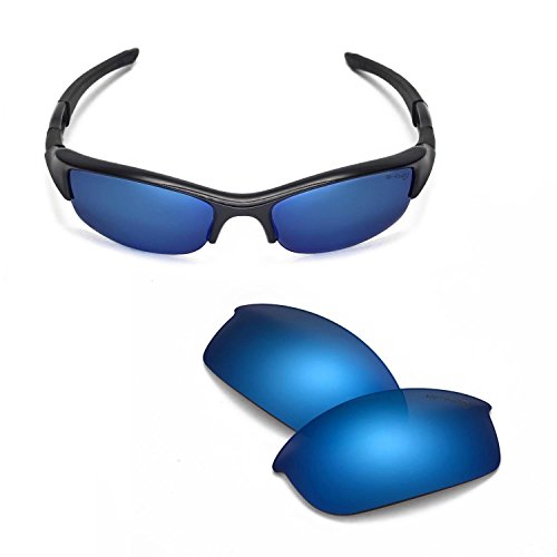Transitions Flak Jacket (Walleva Replacement Lenses Or Lenses/Rubber Kit for Oakley Flak Jacket Sunglasses - 45 Options Available (Ice Blue - Mr. Shield Polarized))