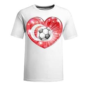 Custom Mens Cotton Short Sleeve T-shirt,2014 Brazil FIFA World Cup Turkey soccer heart 2014 white