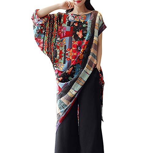 (kaifongfu Womens Short Sleeve Floral Print Irregular Hem Asymmetrical Loose Fit Tunic)