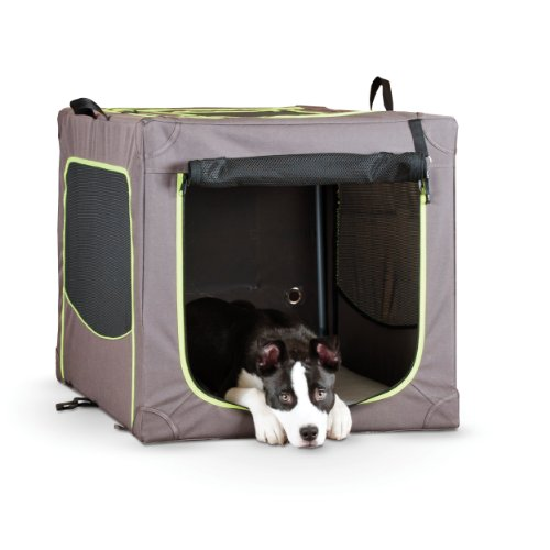 K&H Pet Products Classy Go Soft Pet Crate Small Brown/Lime Green 24