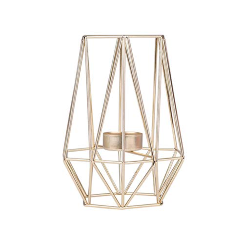 - Ikevan_ Nordic Style Wrought Iron Geometric Candle Holder Iron Candlestick Flower Rack Stand for Home Decoration Metal Crafts (Gold)