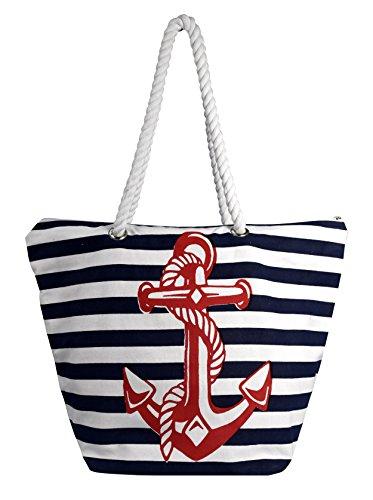 Peach Couture Nautical Anchor Print Bold Stripe Summer Purse Beach Bag Totes (Onesize, Red Blue Anchor) ()