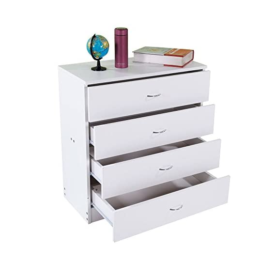 Dressing Table Storage Chest Drawer Modern Wood Bedroom Furniture White (4-Drawer,White) - TRADITIONAL & ELEGANT: Featuring classic lines, a solid platform, and accented with curved metal handles, this dresser is sure to impress! STYLISH STORAGE: With 4 spacious drawers, gliding smoothly on metal slides, you'll stay organized and tidy with this compartmentalized dresser. ITS IN ANY ROOM: This traditional and clean dresser will easily store clothing and linens in your kids bedroom . It's versatility is perfect for any storage needs! - dressers-bedroom-furniture, bedroom-furniture, bedroom - 41DNbOOQ4bL. SS570  -