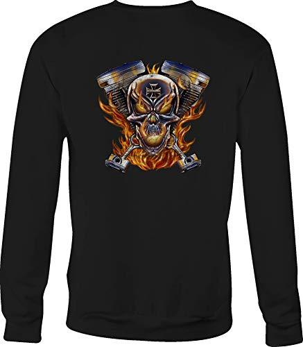 Crewneck Sweatshirt Flaming Pistons Racing Skull Iron Cross V Twin Flames - Large Black ()