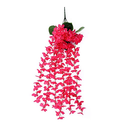 (HANXIAODONG Unique Decorative Wall Hook Wisteria Basket Hanging Vine Artificial Hydrangea Flower Vine Wall Wedding Home Mounted Garden Balcony Wall Traling Floral Decoration (Color : Rose))