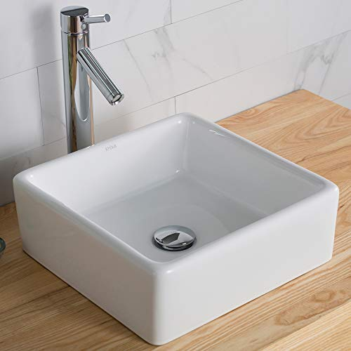 Kraus C-KCV-120-1002CH White Square Ceramic Sink and Sheven Faucet Chrome ()