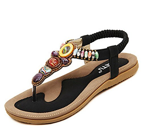 plat femmes avec dames Noir Bohême fille Flops Sandales sandale Flattie flip Tongs Ohmais été perles 8gwdaP8q