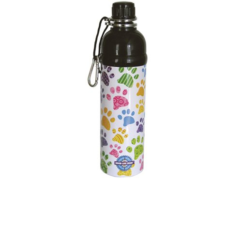 (Good Life Gear Stainless Steel Pet Water Bottle, 24-Ounce, Puppy Paw Print Design)