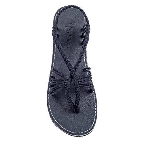 Plaka Flat Sandals for Women Black Size 8 Seashell