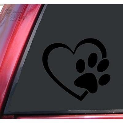 "ShadowMajik Heart and Paw Print Vinyl Decal Sticker (4"" X 3.7"", Black): Automotive"