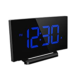 Mpow Digital Alarm Clock, Curved screen Clock with 3.75'' LED Dimmer Digits Display, Bedside Alarm Clock with 3 Alarm Sounds, 30 Minute Ring Time, 12/24 Hour, Backup for Clock Setting [Blue]