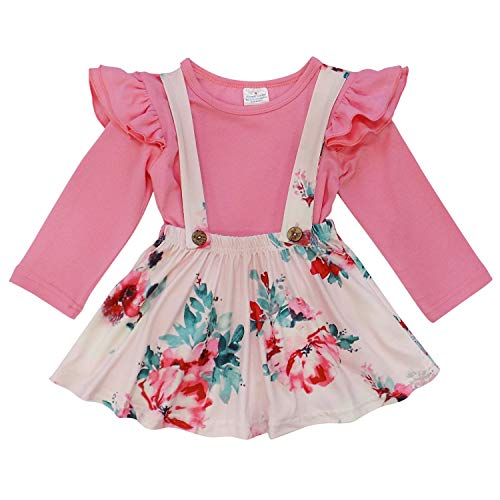 So Sydney Suspender Skirt 2 Piece Outfit, Girls Toddler Fall Winter Christmas Holiday Dress Up Boutique Outfit (L (5), Pink ()