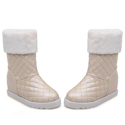 AdeeSu Imitated Heighten Lattice Platform Leather Inside Boots Apricot Girls rzBgXSr