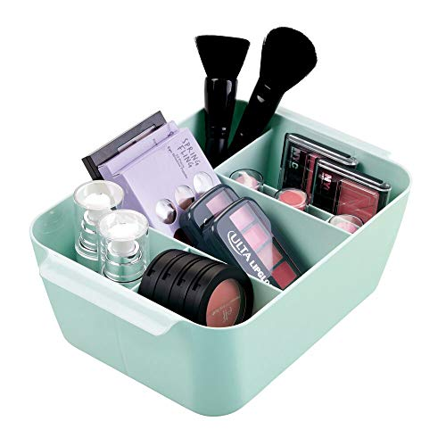 mDesign Plastic Makeup Storage Organizer Caddy - Divided Basket Bin for Bathroom Vanity Countertop, Cabinet - Holds Eyeshadow Palettes, Nail Polish, Brushes, Shower Essentials - Small - Mint Green