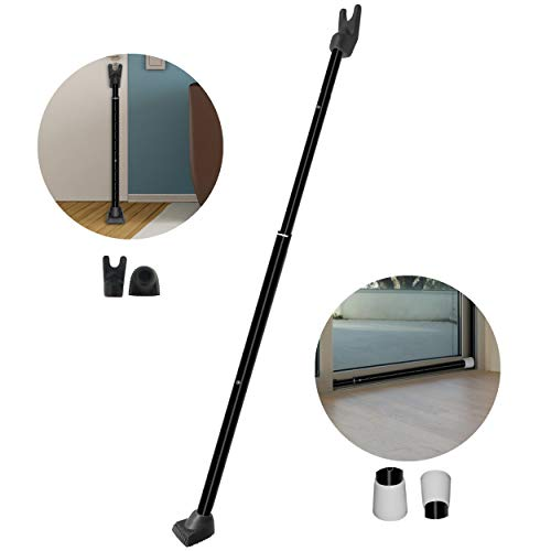 Securityman 2-in-1 Door Security Bar & Sliding Patio Door Security Bar - Constructed of High Grade Iron - Black