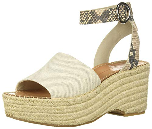Dolce Vita Women's Lesly Wedge Sandal natural fabric 8 M US