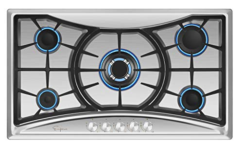 Empava 36XGC202 36 Inch Stainless Steel Gas Professional 5 Italy Sabaf Burners Stove Top Certified with Thermocouple Protection Cooktops, Silver