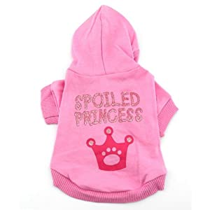 SMALLLEE_LUCKY_STORE Pink Hoodie Hooded Christmas T Tee Shirt Small Dog Christmas Clothes Costume - Spoiled Princess S