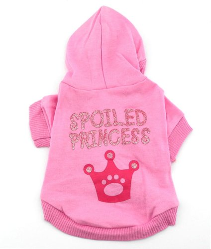 (SMALLLEE_LUCKY_STORE Pink Hoodie Hooded Christmas T Tee Shirt Small Dog Christmas Clothes Costume - Spoiled Princess L)