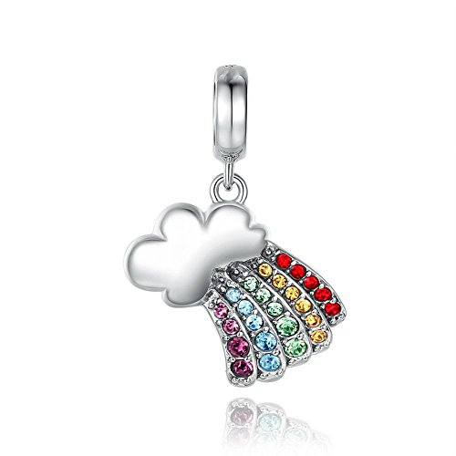 Sterling Charm Silver Crystal 925 - Rainbow Cloud Colorful Crystal 925 Sterling Silver Charm Bead
