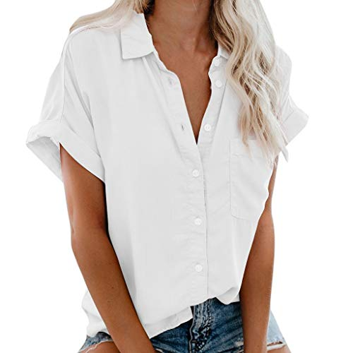 LISTHA Summer Button Shirts Womens Short Sleeve Pocket Blouse Tee Lapel V Tops - Print Top Boatneck