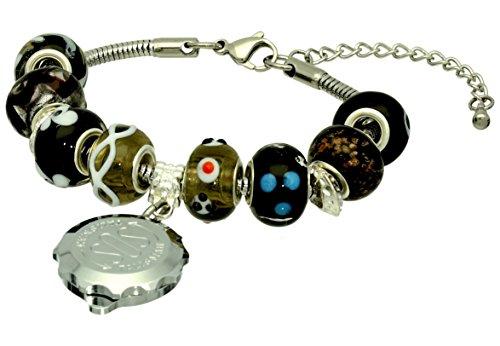 Medical Id Onyx Bracelet - SOS Talisman Pandora Style Bracelet (Alma) With Chrome Plated Capsule - Onyx