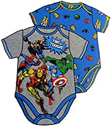 Avengers Super Hero Themed Infant Bodysuit 2-Pack Blue Grey Tee-Shirts Newborn Size