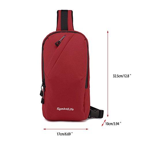 SymbolLife Desportes al aire Libre Ocasionales de Oxford Bolsas hacen Bandolera Forma de Bolsa del Pecho Negro Rojo