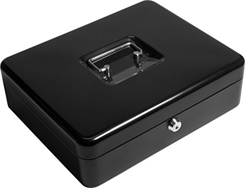 BARSKA-12-Inch-Cash-Box-and-Labeled-6-Compartment-Tray-with-Key-Lock