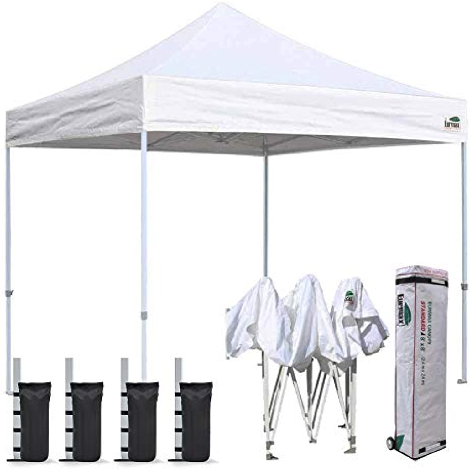 Eurmax 8'x8' Ez Pop Up Canopy Tent Commercial Instant Canopies Party Tent with Heavy Duty Roller Bag,Bonus 4 Sand Weights Bags (White)