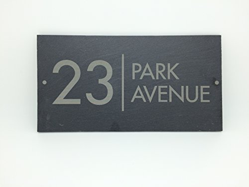 Slate House Sign Name Number Door House Sign 25x13cms