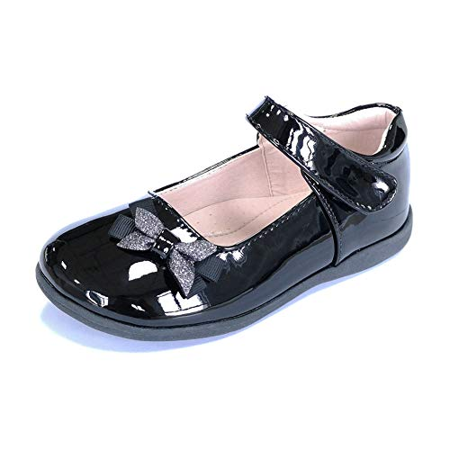 ALPHELIGANCE Kids Girls Strap School Uniform Dress Mary Jane Shoes(2 M US Little Kid,Black-2)
