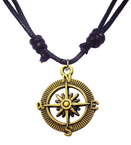 Bijoux De Ja Antique Bronze Old Style Compass Charm Pendant Adjustable Cord Necklace 16