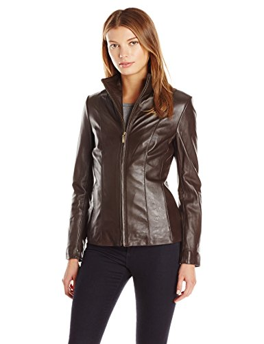 Cole Haan Women's Classic Leather Jacket, Dark Espresso, Medium