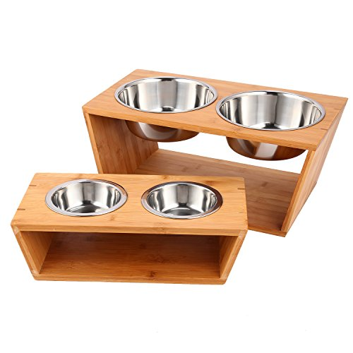 Athomestore Raised Pet bowls for Cats and Dogs,Double Bamboo Stand Food Water Feeding Station w/Two Stainless Steel Bowls (Large) (7'') by Athomestore