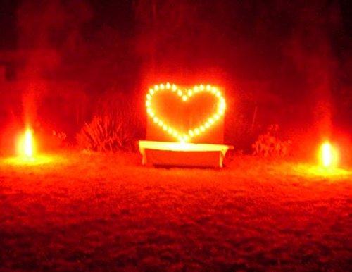 Lichterbild Brennendes Herz gross mit 2 Bengallichter thumbnail