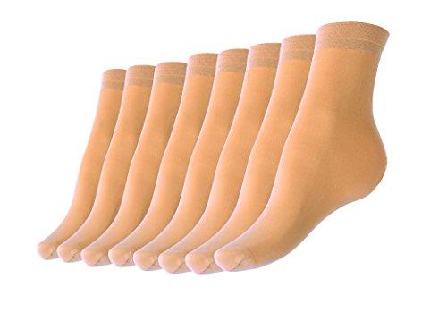Sheer+Ankle+Socks+8+Pairs+Pack+-+Cute+Tan+Transparent+Hosiery+For+Women+%26+Girls