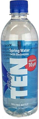 TEN Alkaline Spring Water, pH 10, High in Electrolytes, 16.9 Fl. Oz Bottle (Pack of 24)
