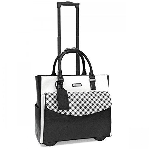 cabrelli-ginny-gingham-rolling-briefcase-black-white