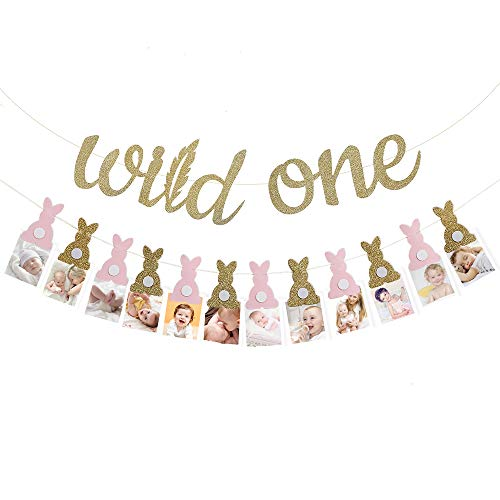 First Birthday Decorations Girl | Gold Glitter Wild One Banner | Monthly Milestone Bunny Photo Banner | 1st Birthday Party Supplies]()