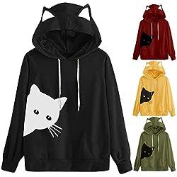 MNLOS Sudadera con Estampado gráfico de Mujer Orejas de Gato Sudadera con Capucha de Manga Larga Top de Bolsillo