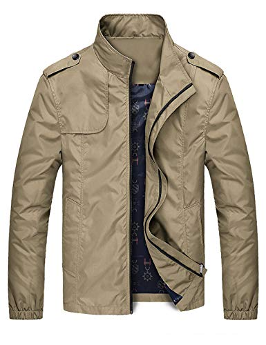 D.B.M Men's British Style Casual Stand-up Collar Plus Thick Velvet Jacket (Large, Khaki1)
