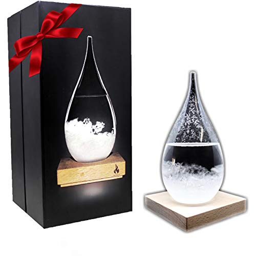 Empyrean Decorative Storm Glass - Water Drop Weather Predictor Creative Forecast Bottle Barometer Weather Glass - 17th Century European Meteorological Stylish Display Large Home Glass Crafts (Large)