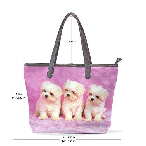 Coosun Damen Einzigartiges Design Baby Hunde Print Pu Leder Große Einkaufstasche Griff Schultertasche Einkaufstaschen Casual Taschen Handtasche für Mädchen